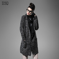D3q2013 autumn women's cardigan loose sweater medium-long sweater outerwear female wool overcoat