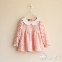 2014 Real Girl Dress Vestido Infantil Vestidos Infantis Autumn And Winter Female Child Small Lapel Lace Top Shirt Dress Clothes