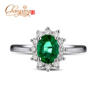 14k Gold 0.98ct Natural Colombian Emerald Full Cut Diamond Engagement Ring