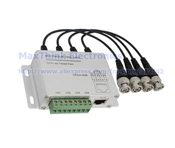 4CH Balun ,CCTV 4 Channel Passive UTP Transmitter Video Balun BNC Female to UTP Rj45 Cat5 , Free shipping