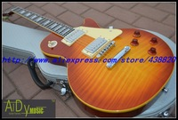Wholesale - Free New Arrival Cherry Burst Custom Electric Guitar yellow binding Ebony High Cheap Free shipping