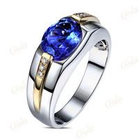 1.85ct AAA Flashing Blue Tanzanite Diamond Mens Engagement Wedding Ring 14k Gold