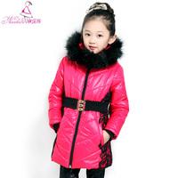 2014 Girls Winter Coat Children's Clothing Female Child Winter Wadded Jacket Medium-large Thickening Cotton-padded Outerwear