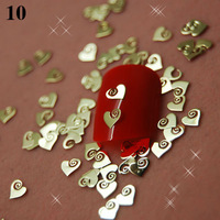 T10   800pcs/lot   Gold metal strips peach heart shape Nail Art Tips Decoration Phone Beauty Cover DIY Design