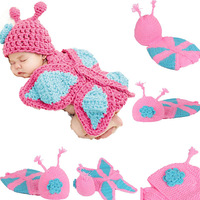 Promotion Fashion Cute Baby Toddler Costume Photo Prop Knit Crochet Butterfly Suit Hat Cap Free  Dropshipping