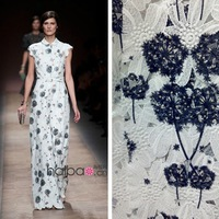 Fashion Model Show Item! Elegant Dandelion Embroidery Lace Fabric Water Soluble Cloth For DIY Suit/Overcoat