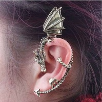 Fedex Free shipping Vintage Retro Gothic Punk Temptation Metal Dragon Bite Ear Cuff Wrap Earring Free shipping drop shipping