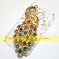 1 Pcs Handmade Bling Diamond Peacock Clear Hard Back Case For LG Optimus L7 II Dual  P715 P716 Duet+