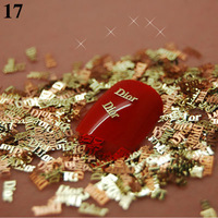 T17   800pcs/lot   Golden metal slice strips of simple design Salon Nail Art  Tips Cellphone Case Craft Decoration Accessory
