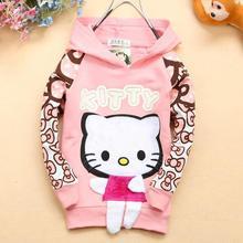 2014 new girls kids cotton kitty sweatshirts hoodies KT103R(China (Mainland))