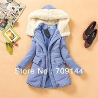 Free Shipping Casual Style Fleece Hooded Long Sleeve Cotton Padded Coat For Women/Winter Coat/Pink Blue/S M L