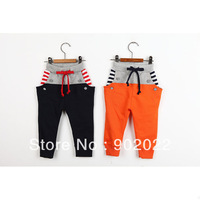 Free Shipping Children clothing kid's Cotton terry patchwork stripe pocket pants