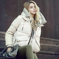 Slim design hooded short down coat female down coat female