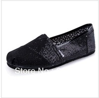 Free shipping summer sequins leisure flat canvas shoes women flat shoes
