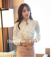 Free shipping new fashion large size women's casual dress lace chiffon shirt long sleeve career shirt