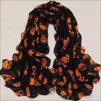 Free Shipping New Cape Spanish Style Novelty Orange Skull Chiffon Scarf For Women Decoration Garment Accessories