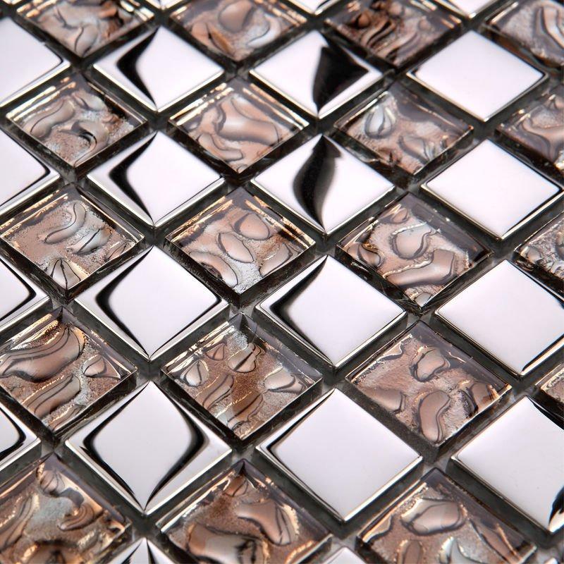 glass mosaic tiles backsplash brown crystal glass kitchen design