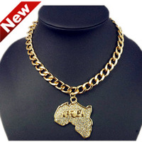 New Arrival Fashion Design Gold African Map Pendant Necklace Jewelry Products with Artificial Gemstones