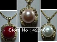 Pendant Necklace 18K Gold Plated Multicolor Sea shell pearl&Austria Rhinestone Necklace Fashion women jewelry Christmas Gift AAA