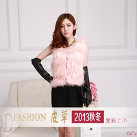 Cii 2013 new winter fur real shot turkey feather ostrich feather vest fur vest jacket tanuki