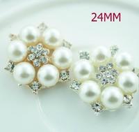 Free Shipping!100pcs/lot (24MM)Zinc Alloy metal rhinestone pearl cluster button wedding embellishment garment DIY hair accessory