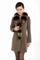 women cashmere warm coats with detachable fox fur collar Russia plus size fur jackets