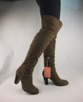 Brief fashion velvet thick heel round toe two ways over-the-knee casual thigh boots