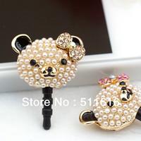 Luxury Animal Phone Accessories Pearl Diamond Panda 3.5mm Dust Plug Earphone Plug For Iphone & Ipad & Samsung& HTC Wholesales