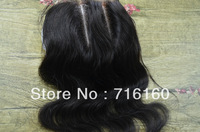 Free shipping virgin wavy peruvian hair body wave three part lace top closure bleached knots,4''*4'' queen remy lace closure