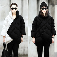 Europe pillow collar Cropped sleeves thick black and white stitching Slim Warm Down jacket Tops Free Shipping