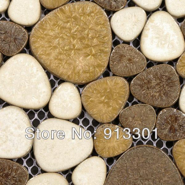 Porcelaine Pebble mur de salle de bain et carrelage conçoit actualisation en céramique feuille de carreaux de mosaïque dosseret de cuisine idées livraison gratuite(China (Mainland))
