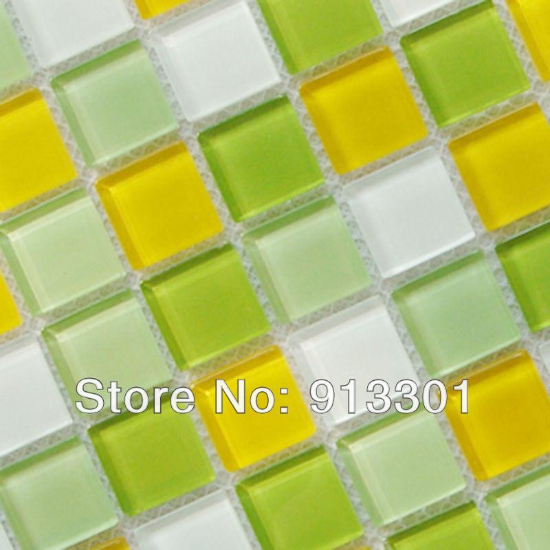 Wandtegels Keuken Groen : Crystal Glass Mosaic Tile Backsplash Green