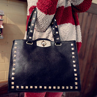Casual fashion rivet shoulder bag messenger bag female bags handbag soft black punk