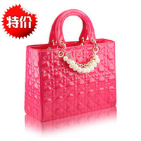 Red bags bridal bag 2014 women's handbag plaid black japanned leather bag DAPHNE bag