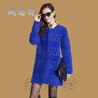 Marten velvet overcoat women's medium-long o-neck plus size mink marten velvet cardigan marten velvet outerwear