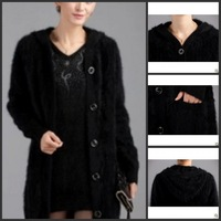 Kojah fleece outerwear thickening loose overcoat knitted sweater fur