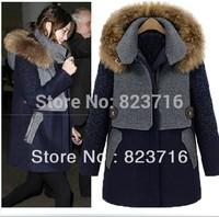 Free Shopping Female High-grade Coat Fashion Women's Plus Size Thickening Woolen Overcoat Women Medium-long Woolen Outerwear