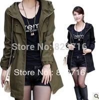 Free Shopping Women Plus size Clothing Autumn Female Fashion Trench Long Design Outerwear Large size women clothes