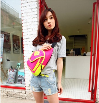 Bicycle 2013 casual waist pack fashion neon color block chest pack messenger bag  United States