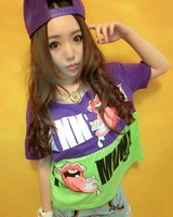 Female 2013 short-sleeve t-shirt color block decoration big print t-shirt 0268