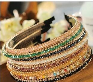 hot 2014 hair accessory rhinestone headband crystal beaded hair bands metal hair pin 5090