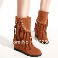 2013 winter fashion boots sweet tassel women's boots elevator shoes female punk single boots size 34-39