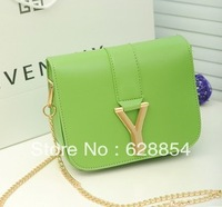Candy colored PU small bag Y-shaped decorative mini shoulder bag diagonal package bag handbags