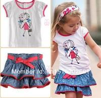 SHT228 Free shipping Retail cute Children Clothing Sets Baby Girls' 2pcs suits short sleeve printing T-shirt +denim jean Dress