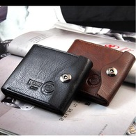 Free Shipping hot sale 2013 Men's casual suction buckle genuine/cowhide leather wallets/purse for men,men's money clip MQB36