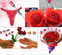 2 in 1 Cool design Valentine's Day Christmas gifts red Rose underpants Sexy Underwear thongs sexy T-back Panties Brief Flower