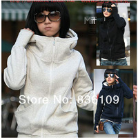 Free Shipping 2013 Winter Korean Style Women's High Collar Hoodied Sweater Clothing Sets Fingers Cardigan Sports Coat 1208