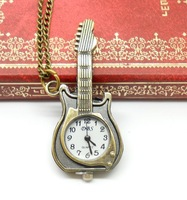 Free shipping wholesale dropship 2013 hot sale vintage bronze unique guitar rock pocket watch cartoon