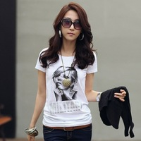 2013 summer women new simple character printed short-sleeved T-shirt print fashion t shirt women free shipping