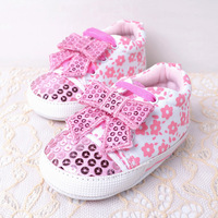 Pink small flower ribbon butterfly baby princess shoes baby shoes soft outsole skidproof toddler shoes